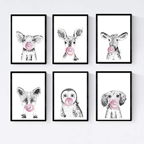 Nacnic Set 6 Posters Animales Bebes con Chicle. Cerdo Ciervo Vaca Zorro Buho Perro.Tamaño A4