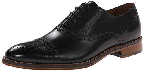 Johnston & Murphy Men's Conard Cap Toe Black Italian Calfskin 11.5