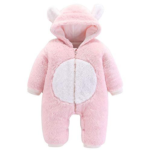 greatmtx Pasgeboren Baby Romper Outfit, Koraal Fleece met lange mouwen Jumpsuit Bodysuit voor 0-12M