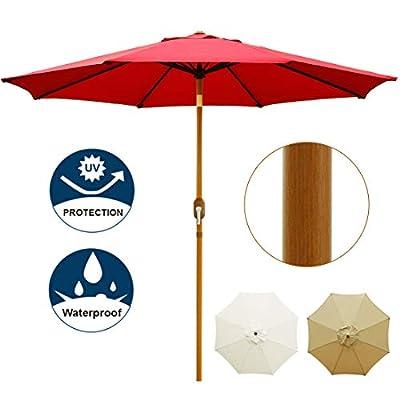 Blissun 9' Patio Umbrella Outdoor Market Table Umbrella with Push Button Tilt and Crank, Wooden Sticker Aluminum Pole, 8 Ribs (Red)