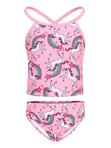 WonderBabe Traje de baño para niña, dos piezas, bikini, traje de baño de verano, dibujos animados, sirena, unicornio, ruffle, borla, traje de baño Unicornio Rosa-971 8-9 Años