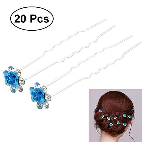 Frcolor 20pcs novia Horquillas de pelo Cristal Perlas Clips de pelo para boda novia damas de honor (Lago Azul)