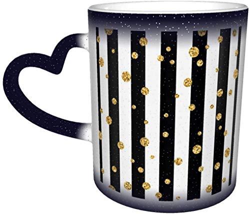 Taza de café con purpurina dorada, diseño de lunares en blanco y negro, color sensible al calor, taza cambiante en el cielo, taza de cerámica, regalo de cumpleaños de Navidad