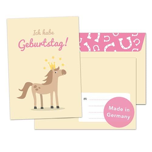 Decento® Einladung Geburtstag Pferd - 8 Karten mit Umschlag für Mädchen - Kindergeburtstag Pony Pferde Prinzessin - Einladungskarten für Kinder zum Ausfüllen und Beschriften