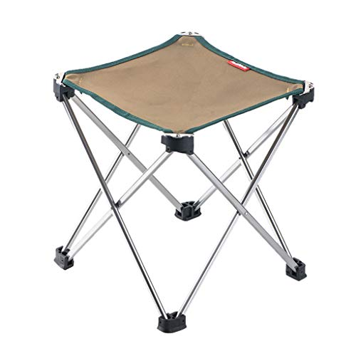 Mini Portable Folding Stool Chair Outdoor Collapsible Stool Fold Up Lightweight Chairs Four Legs Sturdy Chair with Carry Bag for BBQ Picnic Camping Backpacking Hiking Fishing Travel (Khaki)