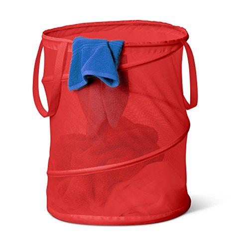 Honey-Can-Do HMP-01261 Pop-Up Mesh Spiral Hamper, Large, Red