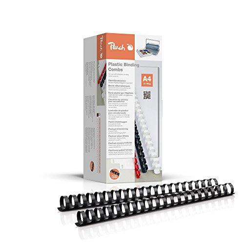 Peach PB422-02 Plastikbinderücken DIN A4, 22 mm, 210 Blatt, 50 Stück, schwarz