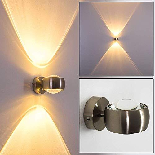 Wandlampe halbrund - Effekt-Licht aus Metall in der Farbe Nickel mit transparentem Schirm aus Glas für verschiedene Räume