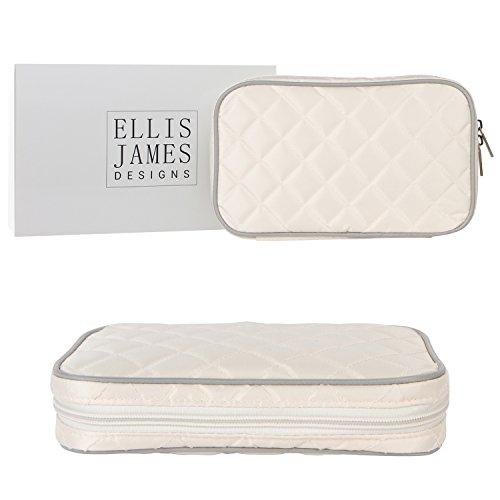 Ellis James Designs Estuche Organizador de Joyas de Viaje Elegante Bolso con Exterior Acolchado y Acolchado para protección - Mantiene Sus aretes, Collares y Otros Tesoros Seguros - Beige