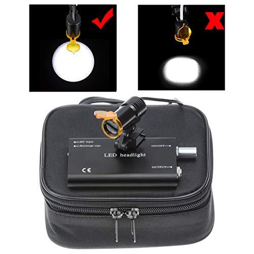 TopSeller歯科 ヘッドライト クリップ式LEDヘッドライト 5W 強力タイプ 精度高い 双眼ルーペメガネ専用 充電式 クリップクランプ サージカルルーペ用 フィルター付き 装着便利 収納ボックス付き (黒)