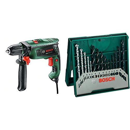 Bosch 0603130100 Trapano Battente EasyImpact 570, W, 230 V, Verde + 2607019675 X-Line Set Mini, 15 Punte, Metallo Legno Muro
