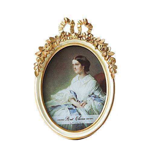 Vintage Picture Frame Oval Antique Table Top Wall Opknoping fotolijst met glazen pui for Decor van het Huis (Color : Gold, Size : 6inch)