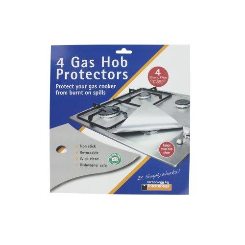 Europart - Protezioni universali per piano cottura con fornello a gas, confezione da 4, colore: argento