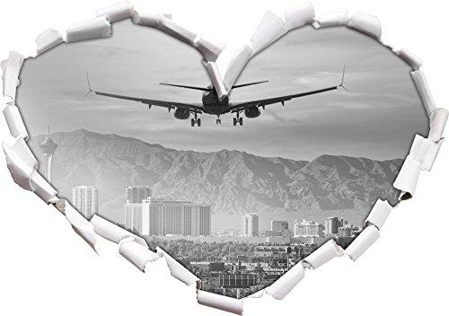 Preisvergleich Produktbild Urlaubsreise nach Las Vegas Kunst B&W Herzform im 3D-Look ,  Wand- oder Türaufkleber Format: 92x64.5cm,  Wandsticker,  Wandtattoo,  Wanddekoration