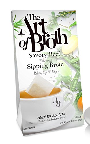 The Art of Broth Beef Broth, Savory Beef Flavored Sipping Broth Bag, Non-GMO, Vegan, Gluten-Free, Kosher (Pack of 6)