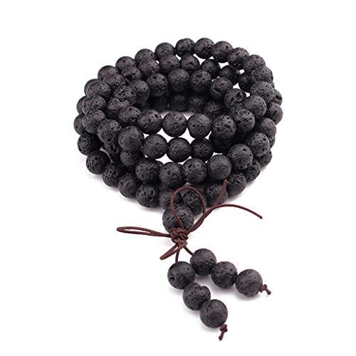 Karrychen 108 Cuentas de oración de Buda de Piedras Preciosas Naturales Mala Pulseras Collar de Rosario