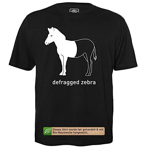 Defragged Zebra - Herren T-Shirt für Geeks mit Spruch Motiv aus Bio-Baumwolle Kurzarm Rundhals Ausschnitt, Größe L