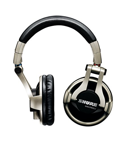 Shure SRH750DJ-E Professional Closed-back DJ Headphones, high-output bass with extended highs, swiveling ear cups, detachable cable, collapsible