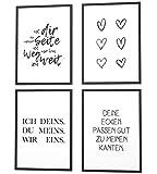 Papierschmiede® Spruch-Poster 4er-Set in DIN A4 | Motiv: