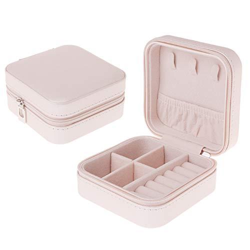 SODIAL Caja de Joyería Portátil Cremallera PU Organizador de Almacenamiento Soporte de Joyería Exhibición de Viajes Caja de Joyería de Viaje Cajas de Regalo para Mujeres (Rosa)