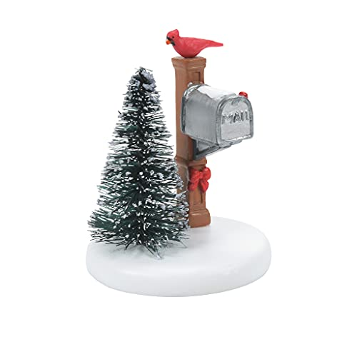 Department 56 Village Accessories Cardinal Christmas Mailbox Figurine, 2.75 Inch, Multicolor
