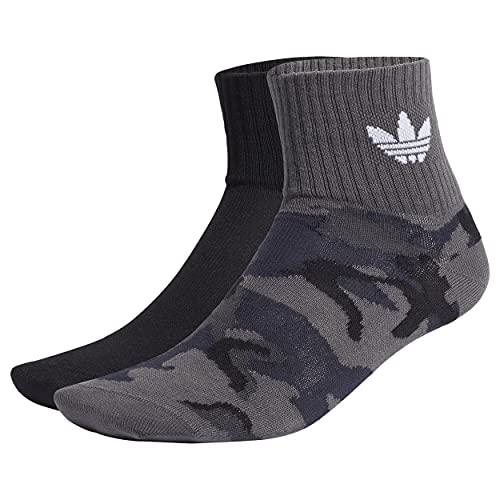 adidas Camo Mid Ankle Socks, Unisex-Adult, Grey Six/Black, L