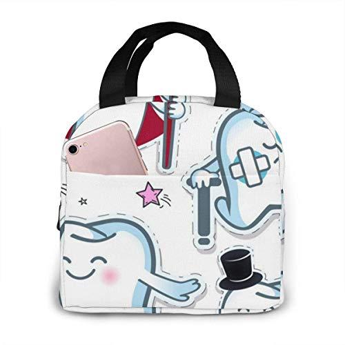 Molelanki Stellen Sie einen fröhlichen Zahn mit Einer Zahnbürste und Einer traurigen wiederverwendbaren isolierten Lunch-Bag-Kühlbox 21 x 20 cm EIN