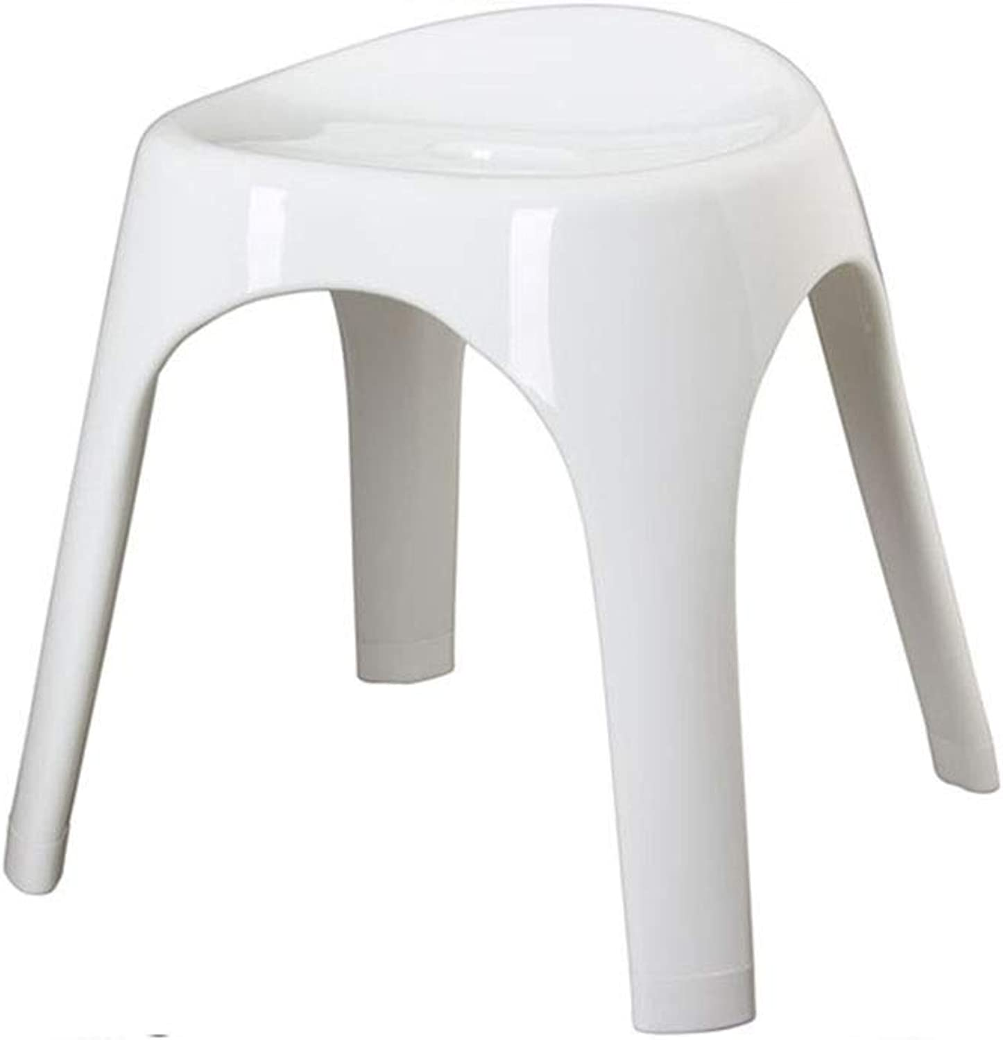 AGL-Bathroom Stools Low Stool Multipurpose Plastic Thicken Non-Slip Portable Fashion Creative Bathroom Bathing Change shoes ,White (color   White, Size   40.5X35X38CM)