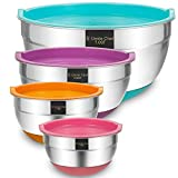 Mixing Bowls with Airtight Lids, 4 Piece Stainless Steel Large Non-Slip Nesting Bowls by Umite Chef, 7-3.5-1.5-1 Quart, Polished Mirror Finish for Mixing Cooking Supplies
