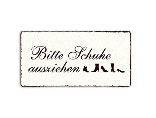 SCHILD Dekoschild « Bitte Schuhe ausziehen » Shabby Vintage Holzschild Türschild