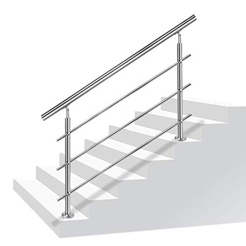 NAIZY Barandilla de acero inoxidable barandilla de escalera con 2 postes para...