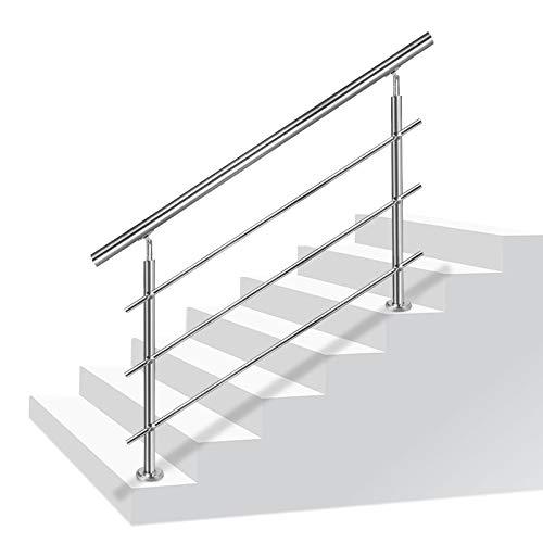 LZQ Barandilla de acero inoxidable para escaleras, balcones, con/sin travesaños (180 cm, 3 travesaños)
