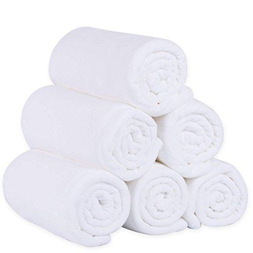 "JML Microfiber Bath Towels, Bath Towel Sets (6 Pack, 27"" x 55"") - Extra Absorbent and Fast Drying, Multipurpose White Microfiber Towel for Bath, Beach, Pool, Sports, Yoga"
