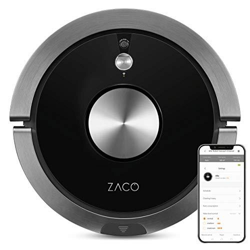 *ZACO A9s Saugroboter mit Wischfunktion, App und Alexa Steuerung, 2 Std Laufzeit, für Tierhaare, 3in1 Hartböden wischen, Teppiche staubsaugen und bürsten, Roboterstaubsauger mit Ladestation, schwarz*