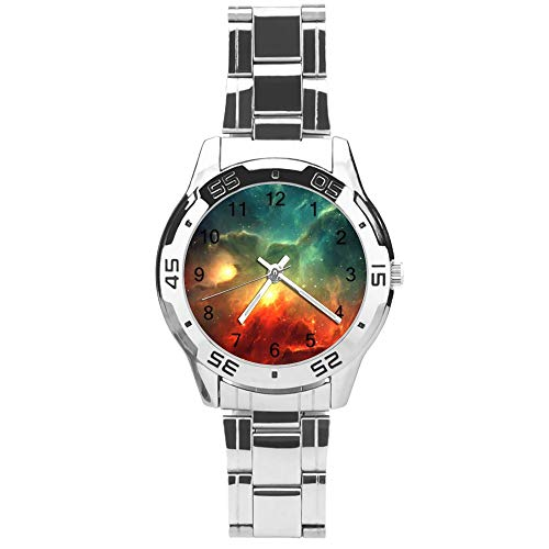 Classic Three Hand Quartz Watch with Stainless Steel Strap,Dial Galaxy,Adjustable Automatic Strap,Silver,for Unisex,Best Gift (41mm) l36n34gyzx30