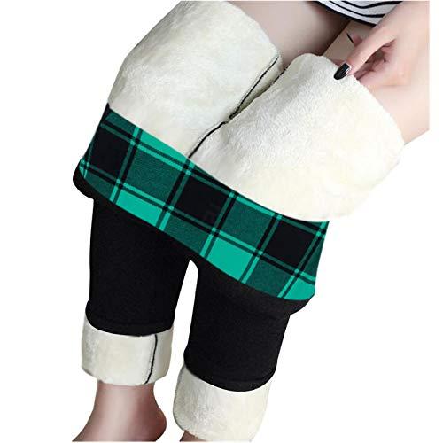 Zldhxyf Leggings forrados para mujer, leggings térmicos de invierno con forro polar suave, diseño de Papá Noel, Negro-2, L