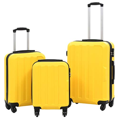 vidaXL Kofferset 3-TLG. Hartschalenkoffer Handgepäck Koffer Reisekoffer Rollkoffer Hartschale Trolley Set Business Reise Gelb ABS 4 Rollen S M L