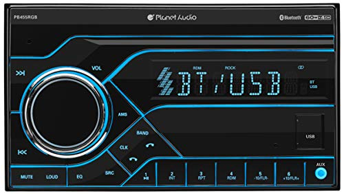 Planet Audio PB455RGB Multimedia Car Stereo - Double Din, Bluetooth Audio and Hands-Free Calling, MP3 Player, No CD/DVD, USB Port, AUX Input, AM/FM Radio Receiver, Multi Color Illumination