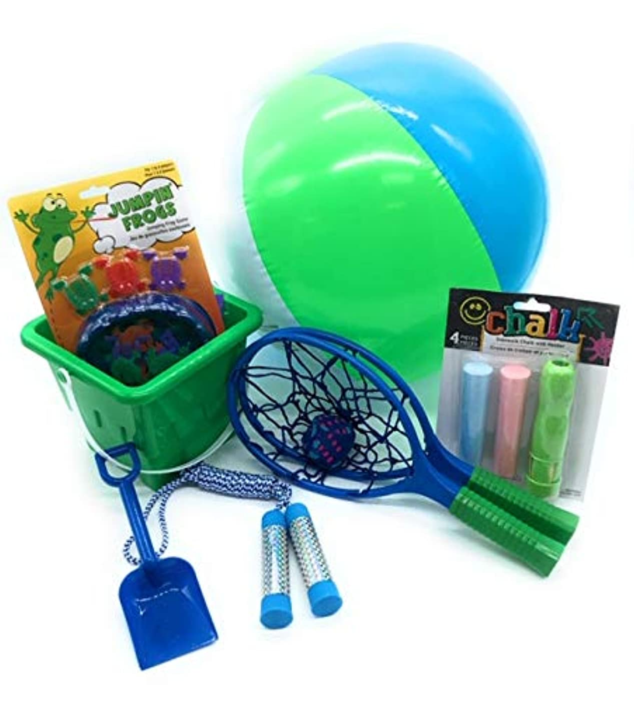 Outdoor Fun Healthy Kids Toys and Play Time Bundle - Candy Free with Sand Bucket, Shovel, Beach Ball, Jumping Frogs Game, Chalk, Jump Rope, and Splash Catchers Ball Game