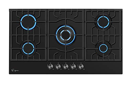 """Empava 36"""" Gas Cooktop with 5 Italy Sabaf Sealed Burners NG/LPG Convertible Tempered Glass in Black Model 2020, 36 Inch"""