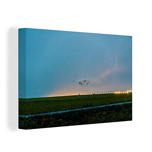 Canvas Schilderijen - Startbaan van Schiphol bij zonsopkomst - 150x100 cm - Wanddecoratie - canvas met 2cm dik frame
