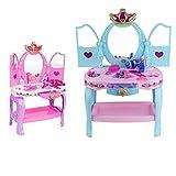 Set de belleza Juguete Juguete Simulación Chica Mesa de tocador Juego de niños Juego de juguetes Juego de juguetes de 3-6 años de edad Juguetes educativos azules y rosados (Color: Azul, Tamaño: 31x7