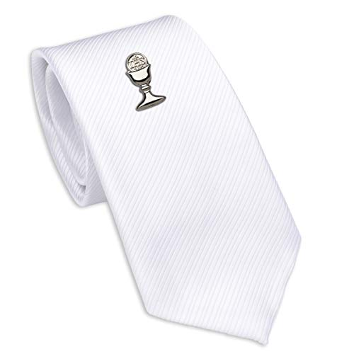 Boys First Communion Tie White Striped and Silver-Tone Chalice Tie Pin, 45-inch