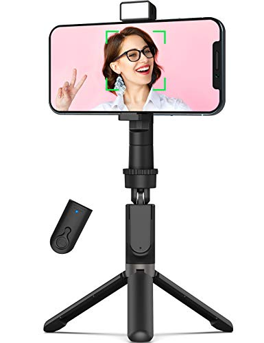 Face Tracking Phone Tripod, 360° Rotation, 27'' Extendable Gimbal Stabilizer for Selfie Vlog Live Video, Fill Light, Remote Shutter, Universal Holder for iPhone Android