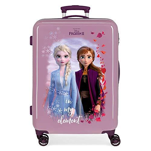 Disney Frozen La Reine des Neiges Nature is magical Valise Moyenne Pourpre 48x68x26 cms Rigide ABS Serrure à combinaison 61L 3,4Kgs 4 roues doubles