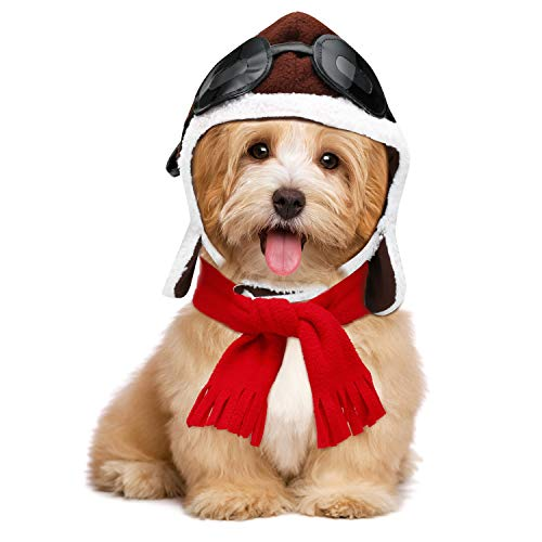 Pet Halloween Costume Pet Pilots Hat Scarf Set Dog Costume Cosplay Costumes - http://coolthings.us