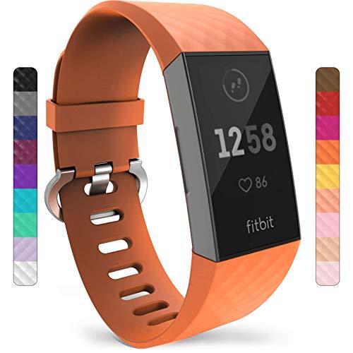 Yousave Accessories Compatibile Cinturino per FitBit Charge3 / Charge4, Cinturino di FitBit Charge 3 / Fitbit Charge 4, Cinturino Sportivo per il FitBit Charge 3 Fitbit Charge 4 - Piccolo - Arancione