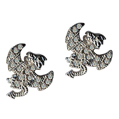 Pendientes de plata de ley 925, diseño de demonio, dragón, plata de ley 925, cristales de circonita, brillantes, amor, fe, esperanza, emoción, símbolo, diseño, objeto, color blanco, extravagante,