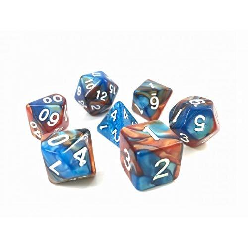 Juego de Dados poliédricos HD D&D para Dungeon y Dragons RPG Juego de rol MTG Pathfinder Juego de Mesa 7 Dados (Azul + Dorado) Mezcla de Dados de Color