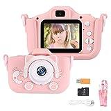 Powstro Cámara para Niños Cámara Digitale Selfie para Niños de Tarjeta 32GB, 2.0' HD Camara de Doble Lente 8MP/1080p, Ideales para niños de 3 a 12 años,Cámara para Niña, Rosa